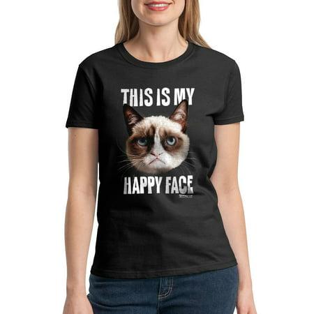Grumpy Cat Happy Face Women's Black T-shirt NEW Sizes - Grumpy Cat Happy Halloween