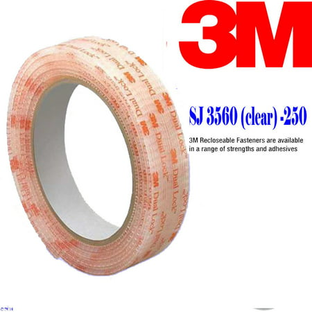 "Genuine 3M Dual Lock SJ3560 Type 250 VHB Clear Reclosable Fastener, 1"" W x 5"