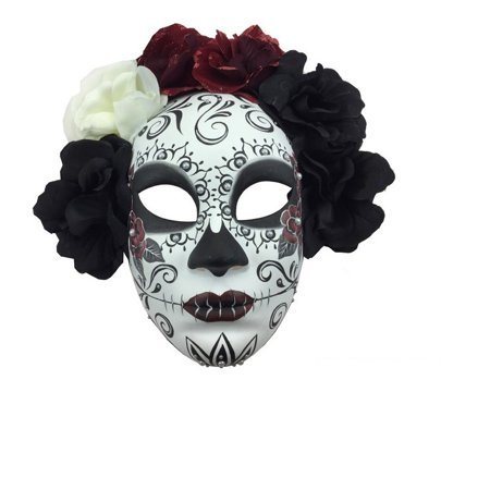 Kbw Women's Day of Dead Full Face with flowers - Day Of The Dead Mask