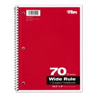 Tops Theme Book, Wide Rule Spiral Notebook, 1-Subject, Assorted Color Covers, 85 Bright, 70 Sheets per Book (65002)