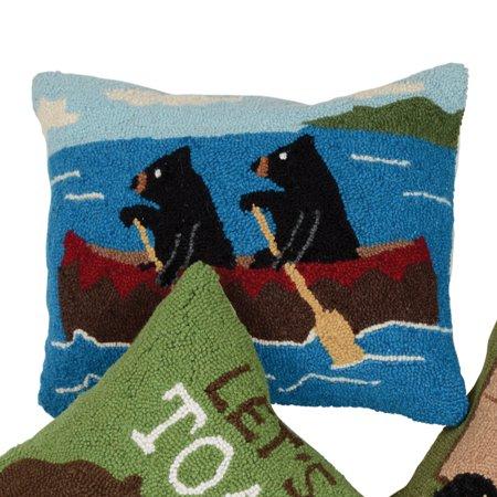 (Bears in Canoe Hooked Pillow)