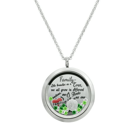 Family Tree Love Heart Round Floating Locket Crystal Charm Pendant Necklace - Family Love Tree - Floating Charm Locket Necklace