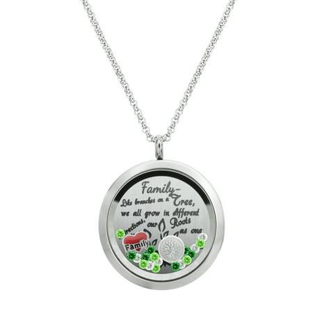 Family Tree Love Heart Round Floating Locket Crystal Charm Pendant Necklace - Family Love - Floating Locket Necklace And Floating Charms