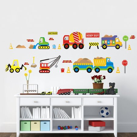 Removable Wall Sticker Transport Truck Digger Car Art Decal Kids Children Room Nursery