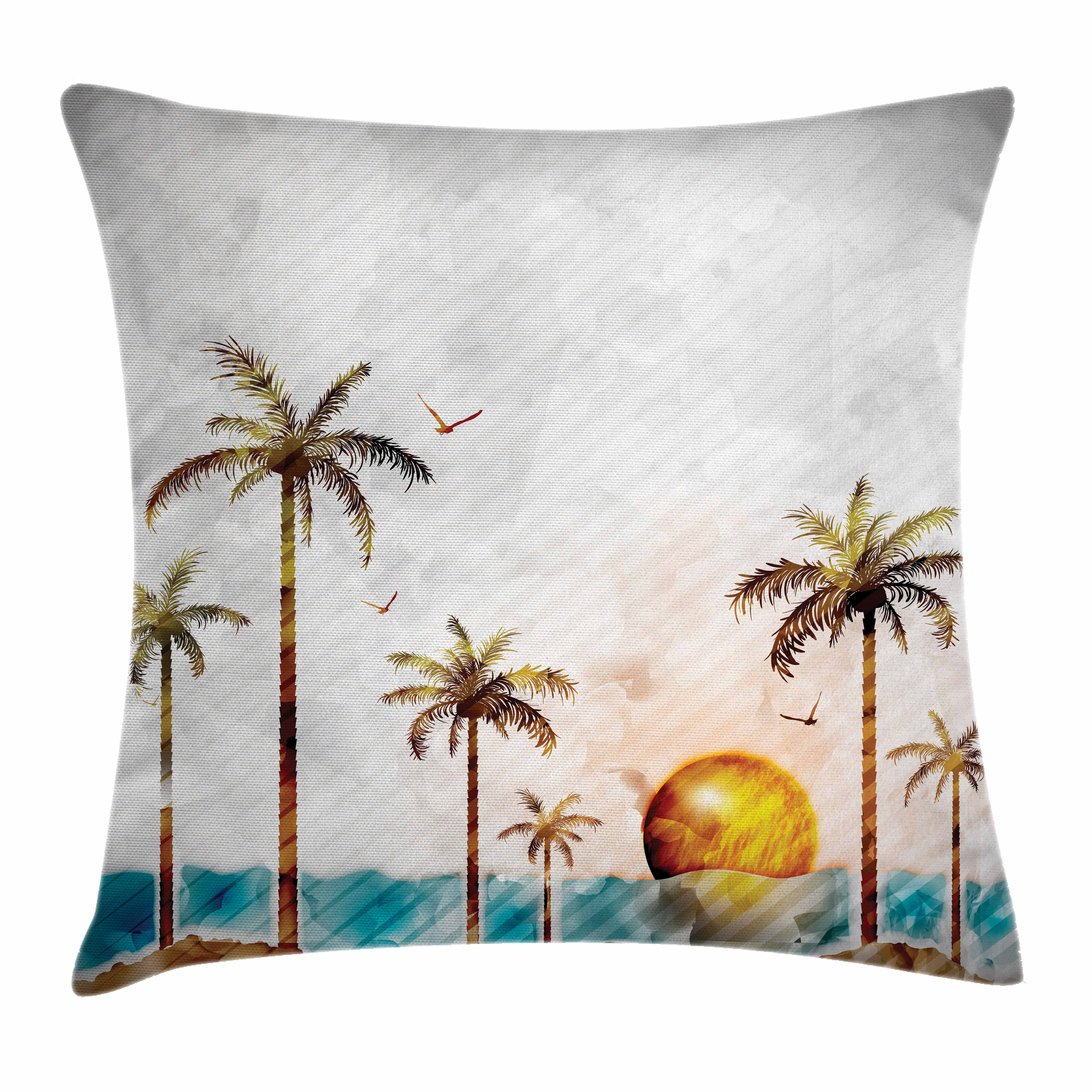 Island Throw Pillow Cushion Cover, Tropical Landscape in Watercolor Style Palm Trees Ocean Waves Sunset Beach Picture, Decorative Square Accent Pillow Case, 16 X 16 Inches, Multicolor, by Ambesonne