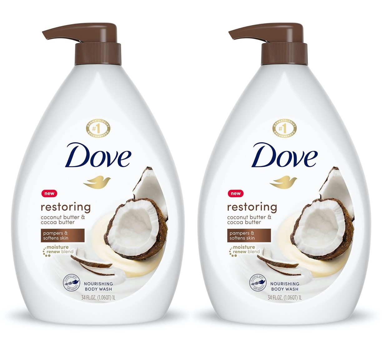 2 Pack Dove Purely Pampering Body Wash Coconut Butter Cocoa Butter 34 Oz Walmart Com Walmart Com
