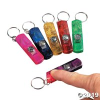 3-In-1 Whistle, Toy Compass & Light Keychains