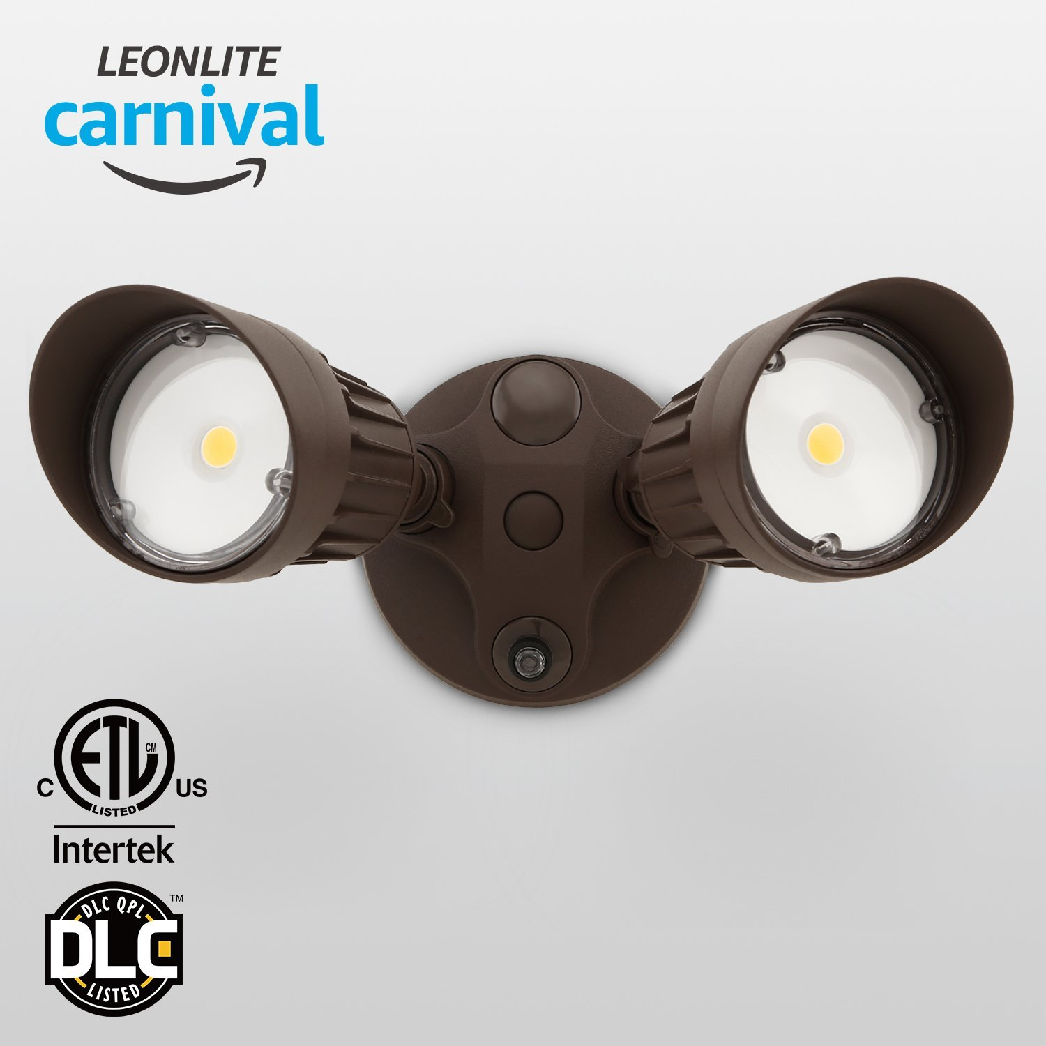 LEONLITE 20W Two-head LED Outdoor Security Light, Dusk to Dawn Photocell, 1800lm LED Flood Light for Yard, Garage, Porch, Entryways, Porch, 3000K Warm White, Bronze