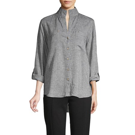 Stand Collar Roll-Tab Button Front Shirt