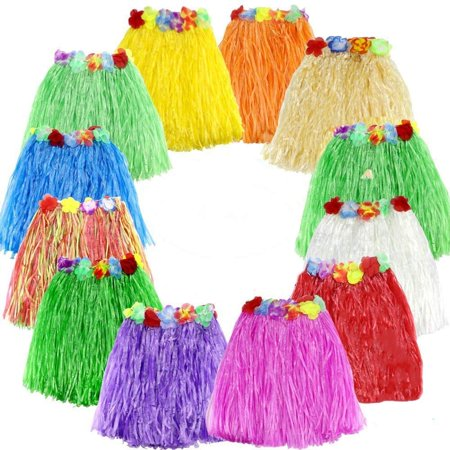 12 Pack Elastic Hawaiian Grass Hula Skirt Dance Dresses Luau Party Favors for Birthday Tropical Party Celebration Supplies (Colors May Vary)