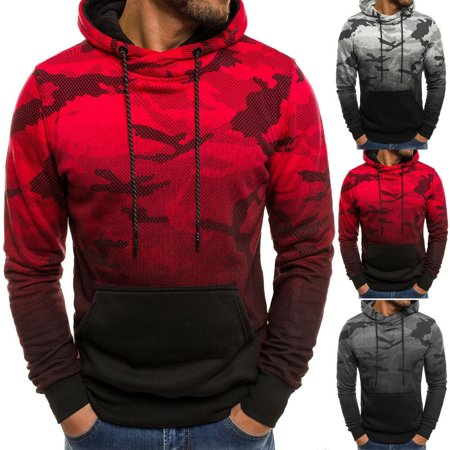 SUNSIOM Mens Hoodies Army Sweatshirt Hooded Jacket Coat Shirt Camo Pullover Jumper Top Camo Hooded Pullover