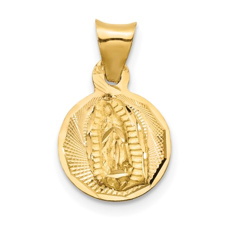 14K Rhodium Plated Yellow Gold & Rhodium Polished & Diamond Cut Lady of Guadalupe Circle Pendant - image 1 of 2
