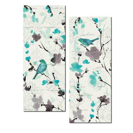 Bird Vintage Poster (Beautiful Teal and Gray Watercolor-Style Floral and Bird Print Set; Two 8x18in Poster Prints )