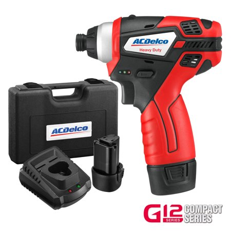 ACDelco G12 Compact 12V Li-ion Cordless Impact Driver, 82 ft-lbs torque, 2 Batteries Kit, (Ultra Torque Compact)