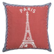 """Rizzy Home Decorative Poly Filled Throw Pillow Paris Eiffel Tower 18""""X18"""" Pink"""