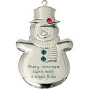 Silvertone Dapped Snowman Ornament