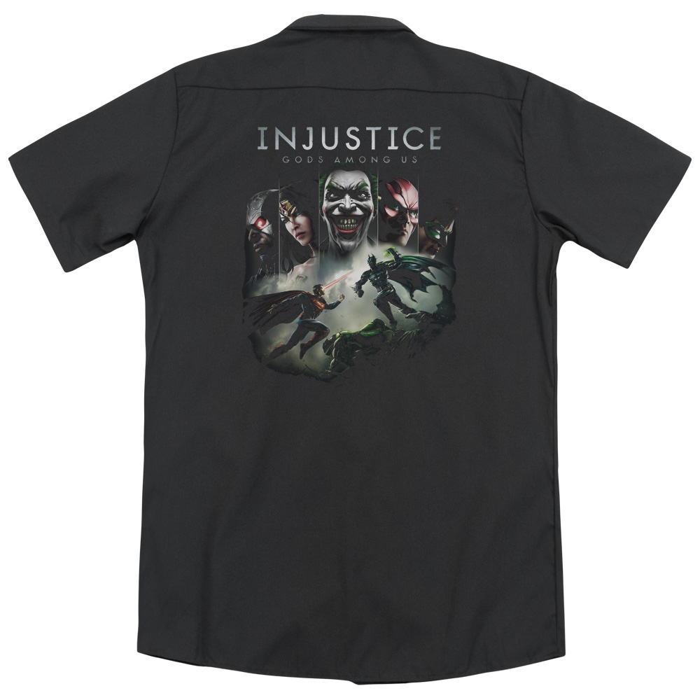 Injustice Gods Among Us Key Art (Back Print) Mens Work Shirt