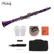 Muslady ABS 17-Key Clarinet Bb Flat with Carry Case Gloves Cleaning Cloth Mini Screwdriver Reed Case 10pcs Reeds Woodwind Instrument