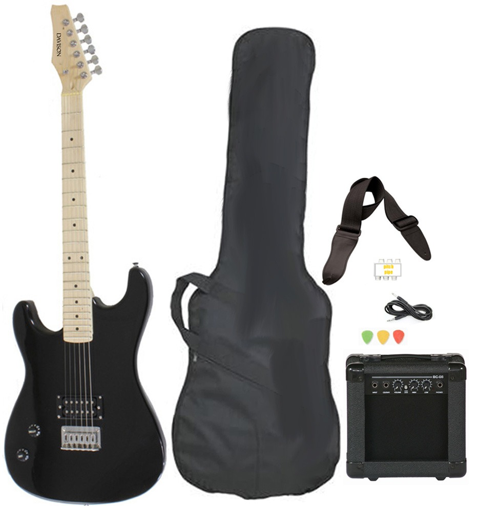 Davison Guitars Electric Guitar Black Left Handed Full Size With Amp Case Cord Strap And... by