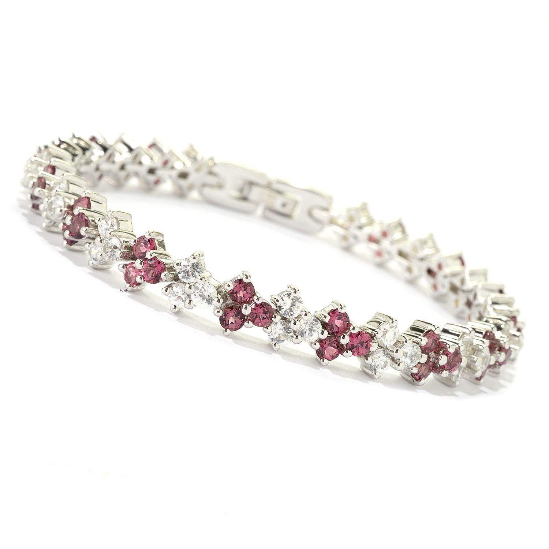 "Sterling Silver 12.5ctw Pink Tourmaline & White Zircon Tennis Bracelet SZ 7.5"" by colorzNshades"