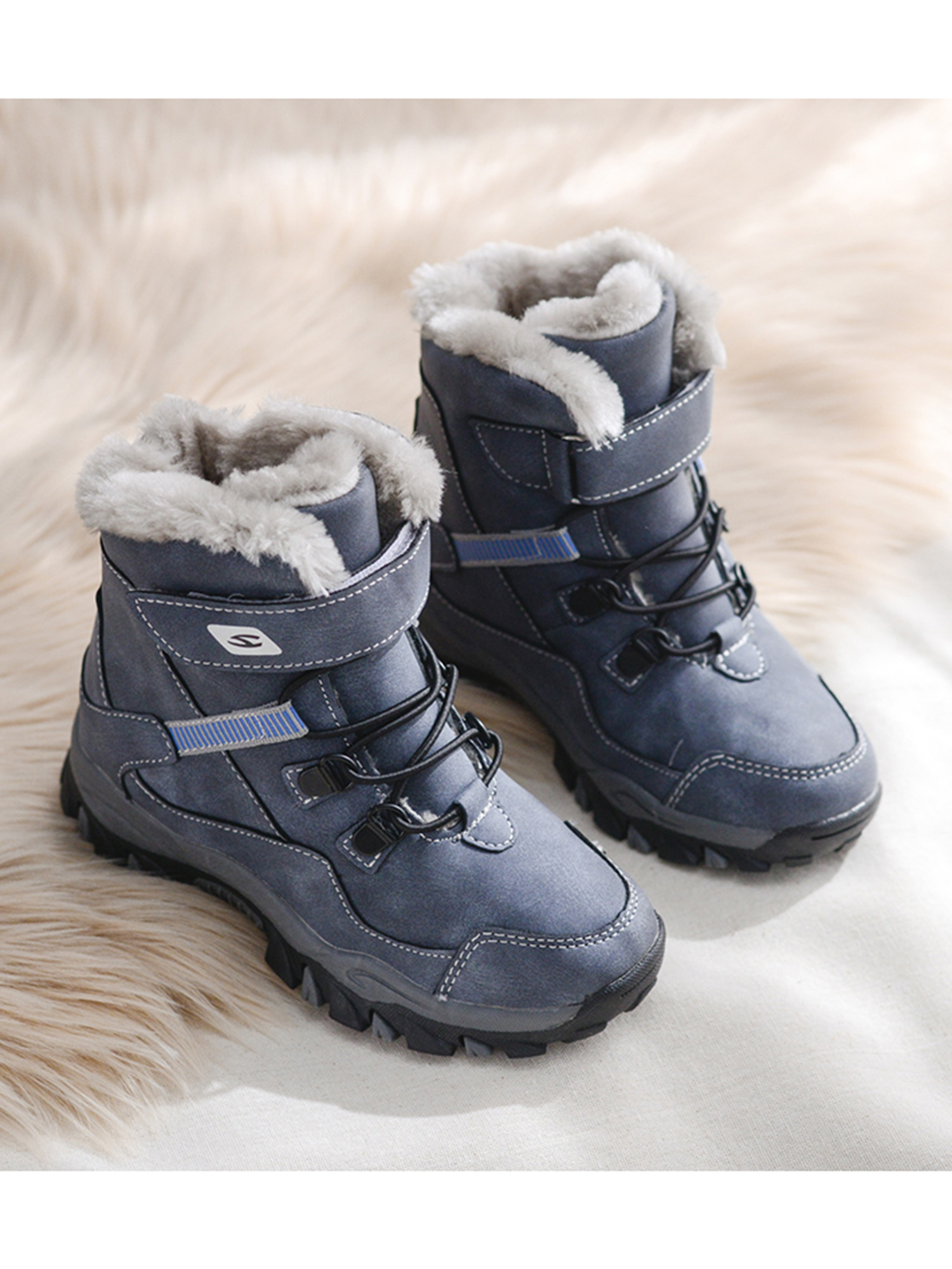 CAIWEI Boys Girls Snow Boots Waterproof Slip On Fur Lined Sneakers Winter Warm Shoes