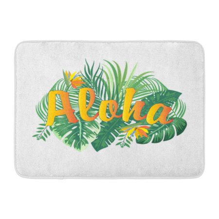 LADDKE Aloha Hawaii Leaves of Palm Tree Tropical Flower Best Doormat Floor Rug Bath Mat 23.6x15.7 (Best Bath Mat Material)