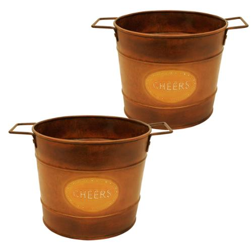 Wald Imports 9-inch Round Metal Container (Set of 2)