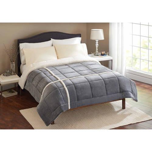 Better Homes and Gardens Velvet Plush Reverse to Sherpa Bedding Comforter