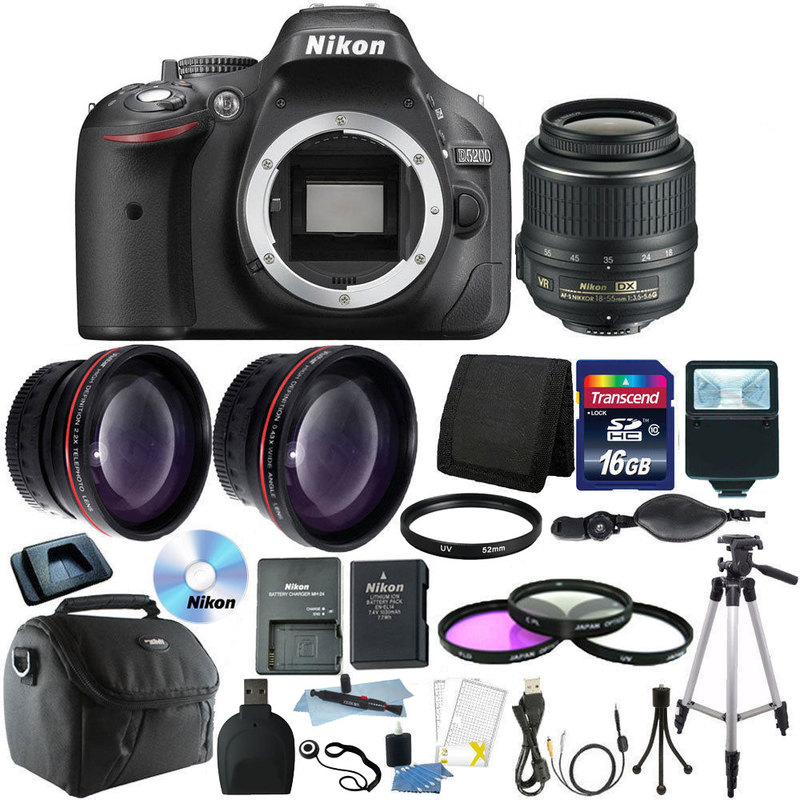 Nikon D5200 Digital SLR Camera w/18-55mm Lens + 16GB Top Accessory Bundle!