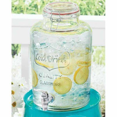 Better Homes & Gardens 2 Gallon Round Glass Beverage Dispenser with Clamp Lid