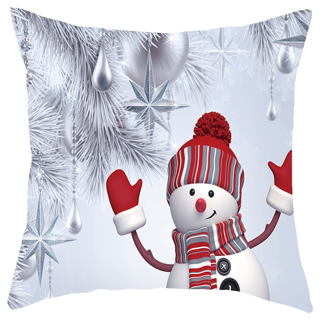 Christmas Sofa Pillow Case 3D Snowman Cushion Cover Decorative Covers Xmas Decor