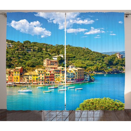 Italy Curtains 2 Panels Set, Portofino Landmark Aerial Panoramic View Village and Yacht Little Bay Harbor, Window Drapes for Living Room Bedroom, 108W X 90L Inches, Blue Green Yellow, by Ambesonne
