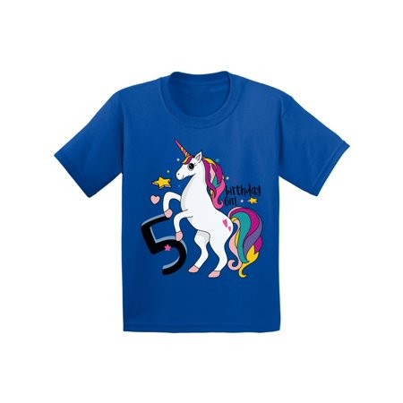 Awkward Styles Birthday Girl Toddler Shirt Unicorn Tshirt For Girls 5th Party Little Rainbow