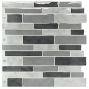 LongKing Gray Marble 12 in. x 12 in. Peel and Stick Wall Tile Backsplash (10-Pack)
