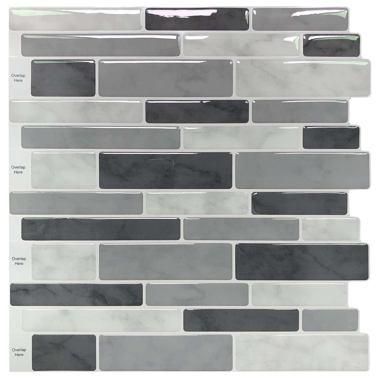 10 Sheets Peel and Stick Backsplash Tile for Kitchen Gray Decorative Tile