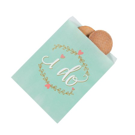Fun Express - I Do Mint Paper Treat Bags (10pc) for Wedding - Party Supplies - Bags - Paper Treat Bags - Wedding - 10 Pieces (I Party Store)