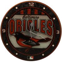 Baltimore Orioles 12'' Art Glass Wall Clock - No Size