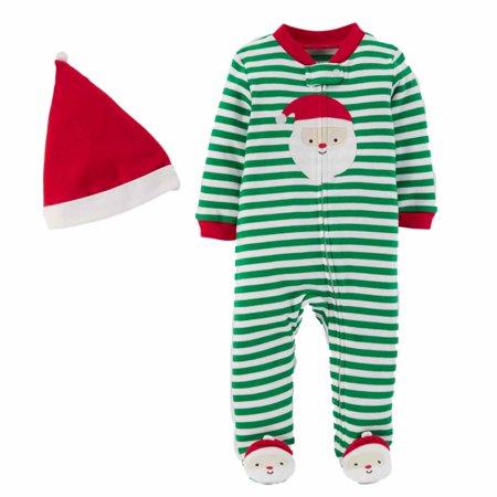 891a5e0b2abd Carters Infant Boys Green Stripe Santa Claus Christmas Sleeper ...