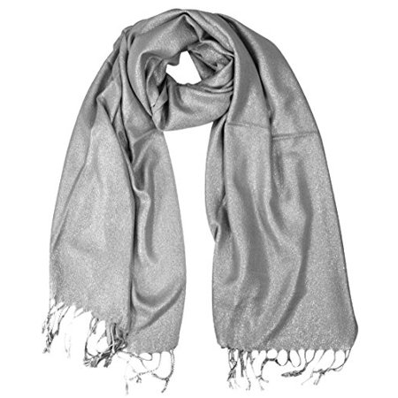 24e6573c2c0 Peach Couture Princess Shimmer Scarf Pashmina Shawl with Fringes Grey