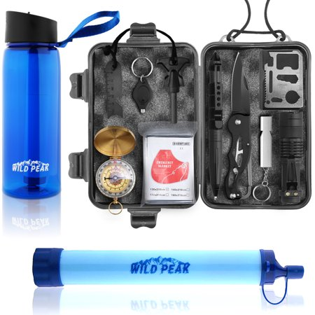 Wild Peak Prepare-1 Survival Tool Kit Bundle with Stay Alive-4 Outdoor 4-Stage Water Filter Emergency 22oz Bottle & Outdoor 4-Stage Water Filter Straw for Camping, Hiking, Climbing, Fishing & Hunting