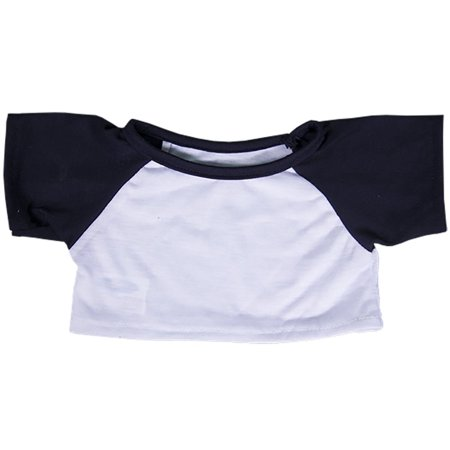 (White Tee w/ Navy Blue Sleeves Outfit Teddy Bear Clothes Fit 14