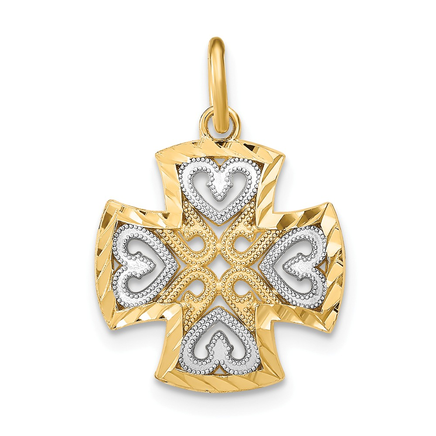 14K Two Tone Gold Heart Cross Pendant Charm Jewelry