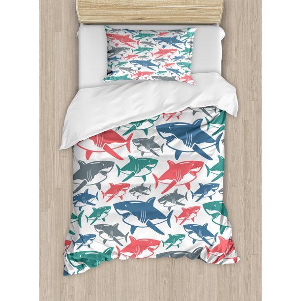 Shark Duvet Cover Set Mix Of Colorful Bull Shark Family Pattern Masters Survival Predators Dangerous Nature Decorative Bedding Set With Pillow Shams Multicolor By Ambesonne Walmart Com Walmart Com