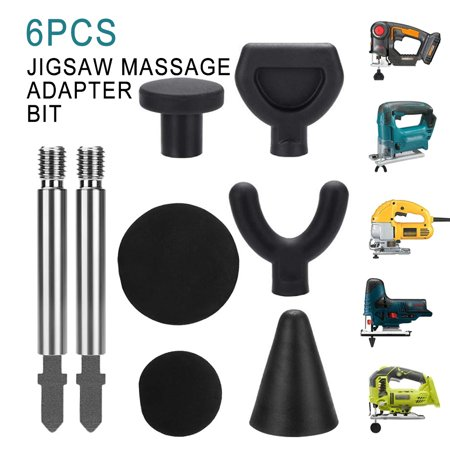 6PCS Jigsaw Massage Adapter Bit Percussion Attachment Tool for Deep Tissue Trigger Point Massage Tips with 2 Rods - image 1 of 7