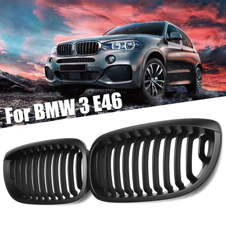 Matte Black Kidney Front Grille FOR BMW E46 3 SERIES 2DOOR COUPE (Bmw 3 Series Convertible 2009 For Sale)