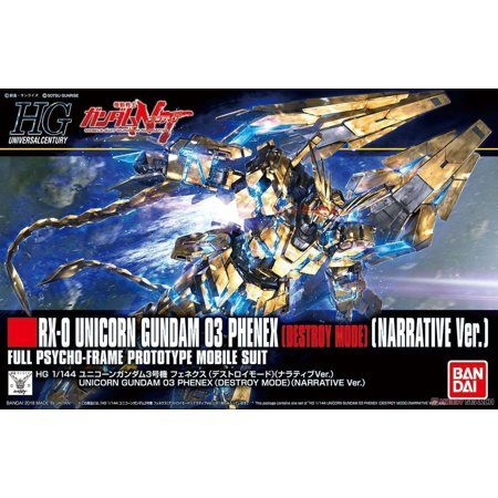 Mode Model Kit (Bandai Narrative Unicorn Gundam 03 Phenex Destroy Mode NT Ver HG 1/144 Model)