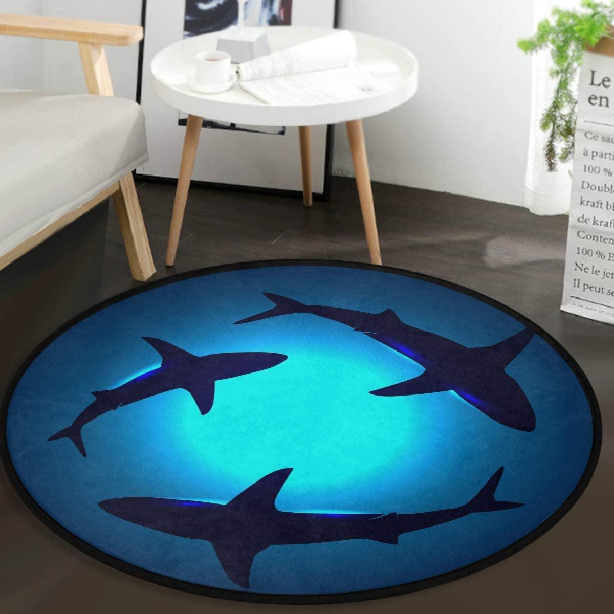 Cute Ocean Animal Sharks Round Doormat Shark Blue Ocean Water Non Slip Absorbent Round Rug Floor Carpet Yoga Mat For Entryway Bedroom Living Room Sofa Home Decor Walmart Canada
