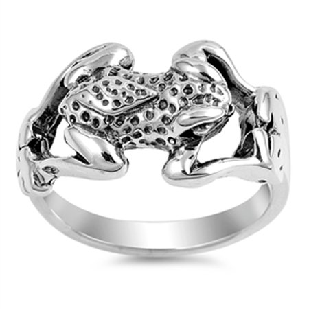 Antiqued Spotted Frog Jumping Animal Ring .925 Sterling Silver Band Size 7