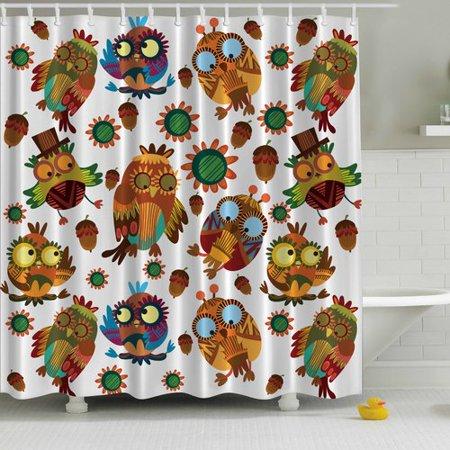 Ambesonne Owl Friends Print Single Shower Curtain
