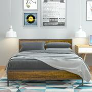 Elephance Queen Wood Platform Bed Frame with Wood Headboard Metal Bed Frame Strong Slat Support